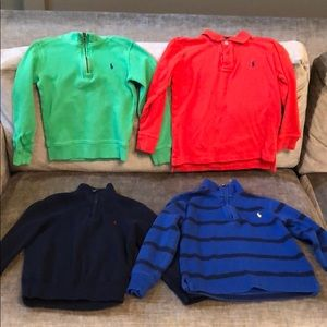 Boys size 5 LS polo zipper pullovers